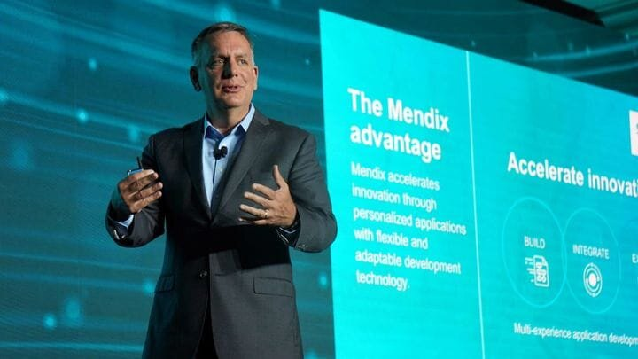 Tony Hemmelgarn, CEO of the newly named Siemens Digital Industries Software at the Siemens Media and Analyst Conference(SMAC) 2019 in New York City. (Image courtesy of Siemens Software.)