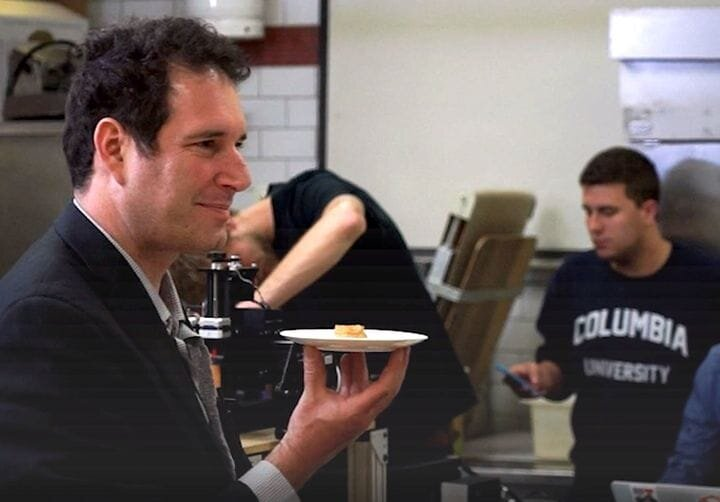 Researcher Hod Lipson with 3D printed food [Source: Mashable]