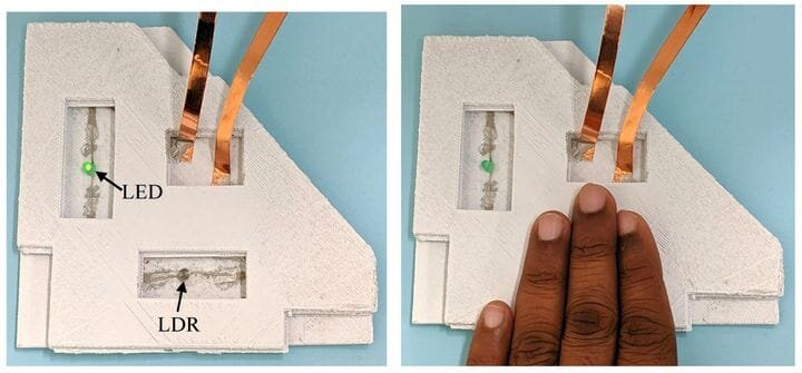 Testing a 3D printed circuit: it works! [Source: ScienceDirect]
