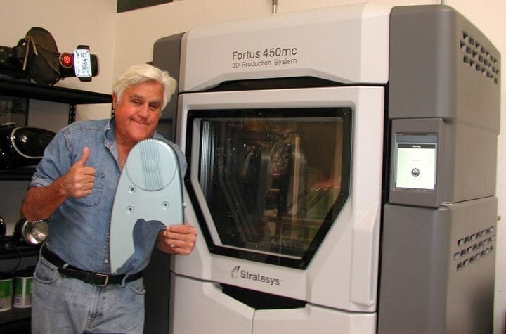 Jay Leno with his own Fortus 450mc 3D printer [Source: Stratasys]