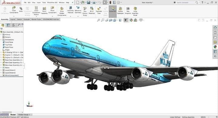 Screenshot of CAD design for a 747 aircraft [Source: ENGINEERING.com]