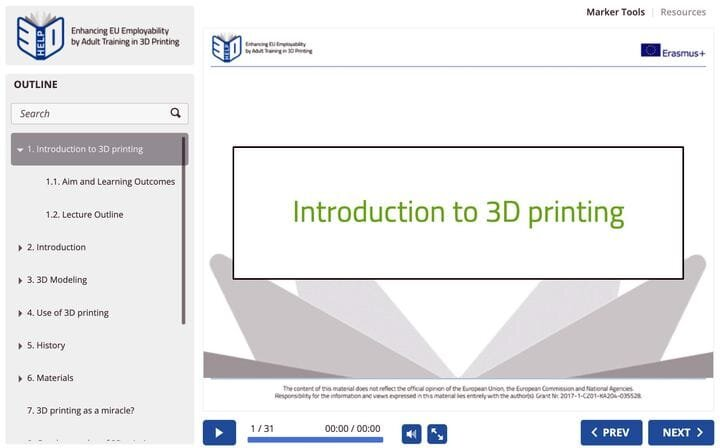 Screenshot of the 3D-HELP online 3D printing training system [Source: Fabbaloo]