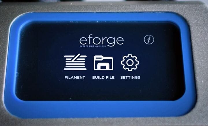 Touchscreen on the eForge electronics 3D printer [Source: Electronic Alchemy]