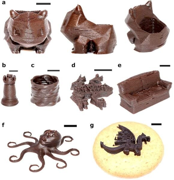 Sample chocolate 3D prints made with the Ci3DP process [Source: Scientific Reports]
