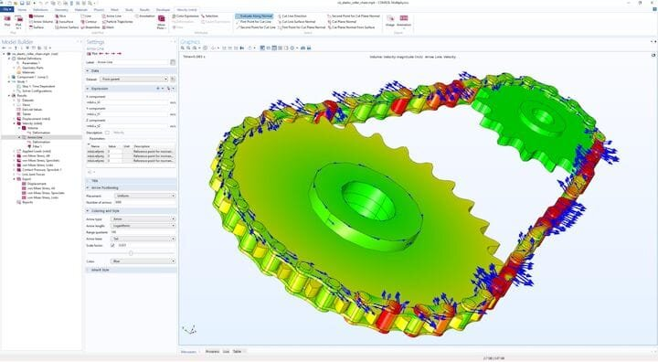 Analysis of an elastic chain drive in COMSOL Multiphysics 5.5's Multibody Dynamics Module. (Image courtesy of COMSOL.)