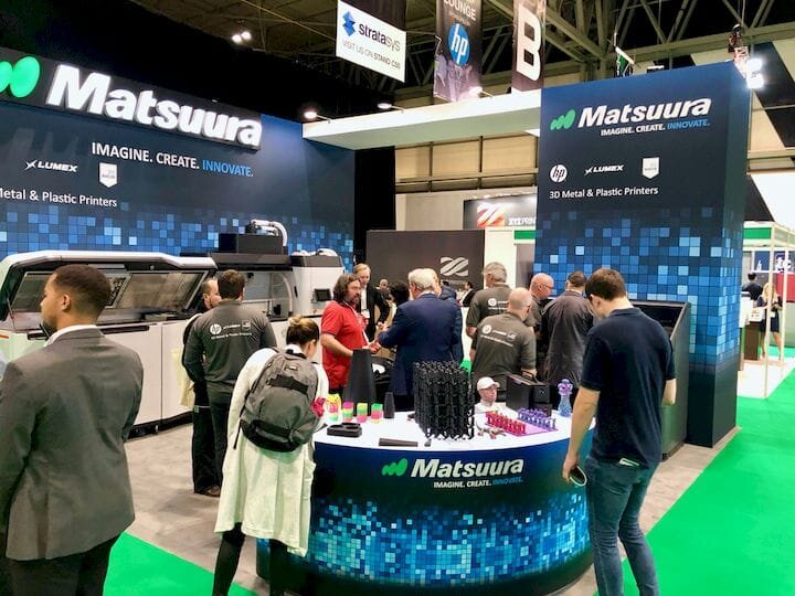 The Matsuura stand at TCT Show 2019 curiously has no metal 3D printers present [Source: Fabbaloo]