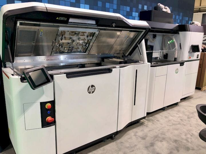 An HP 3D printer on display in a Matsuura stand at TCT Show 2019 [Source: Fabbaloo]