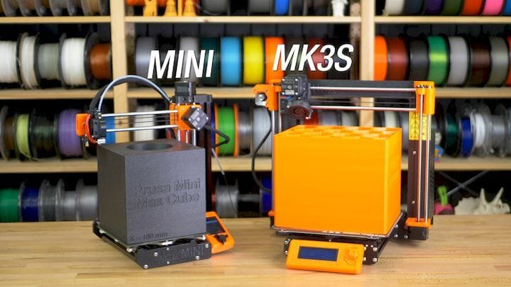 Comparison of the maximum build volume of the Prusa MINI and Prusa MK3S [Source: Prusa Research]