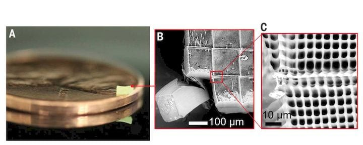 Parallel two-photon lithography orint example - shown on a penny! [Source: Science]