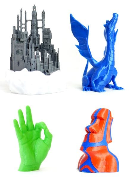 3D printed samples from the low-cost Axis 3D Printer [Source: Makertech 3D]