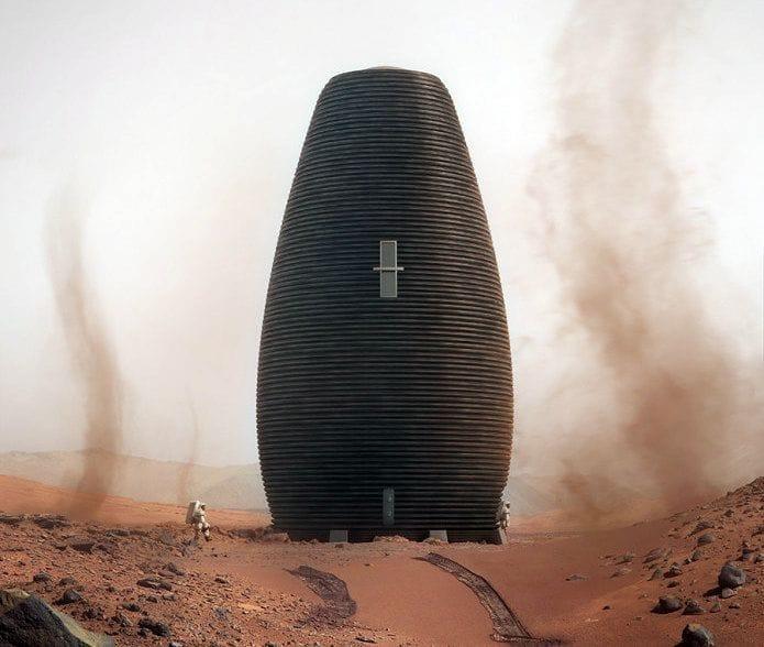 3D Printed MARSHA proposed Mars habitat [Source: AI Spacefactory]