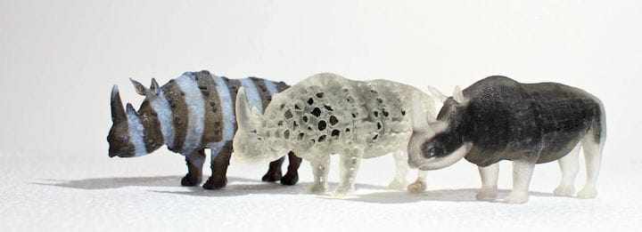 Highly complex multi-material rhino 3D prints made using OpenFab [Source: CACM]