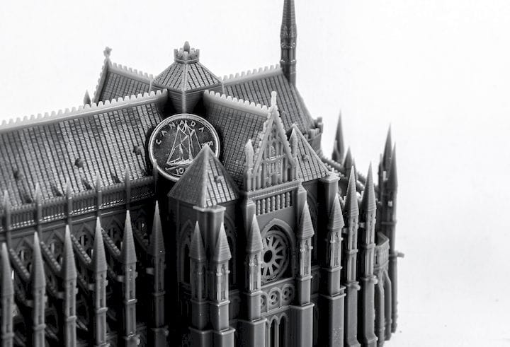 3D printed cathedral with dime for scale [Source: NewPro3D]