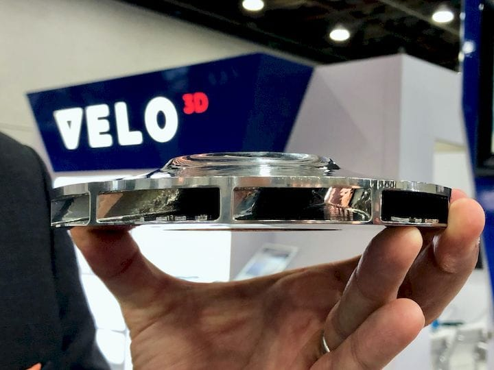 A metal part with significant overhangs 3D printed with no support structures by Velo3D [Source: Fabbaloo]