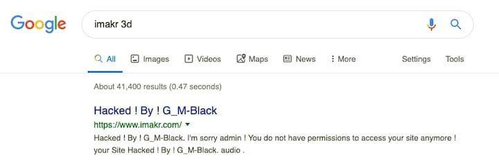 It seems that iMakr has been hacked! [Source: screenshot via Fabbaloo]