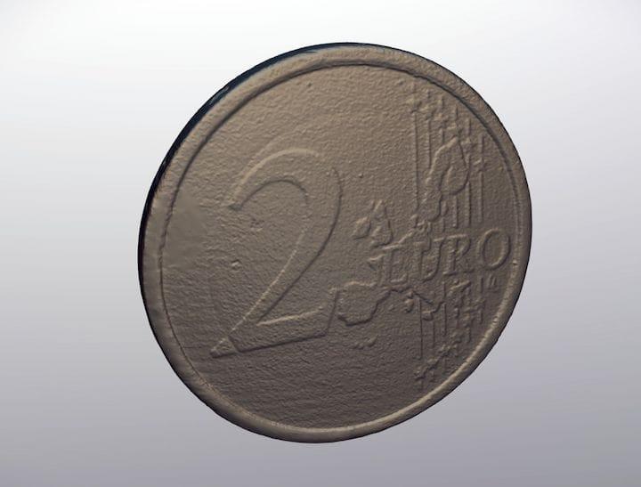 3D scan of a €2 coin [Source: D3D-s]