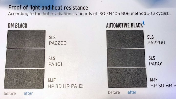 Black-dyed 3D prints by DyeMansion showing effects of irradiation [Source: Fabbaloo]