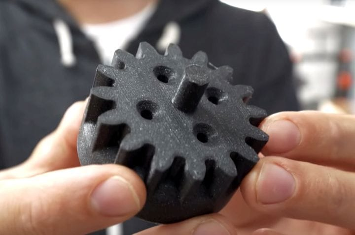 One of the prototype parts for the 3D printed croissant machine [Source: YouTube]