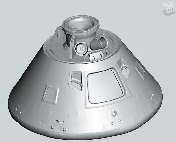 3D model of the actual Apollo 11 command model by the Smithsonian [Source: Fabbaloo]