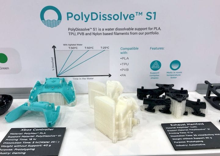A water soluble 3D printing filament from Polymaker, PolyDissolve S1 [Source: Fabbaloo]