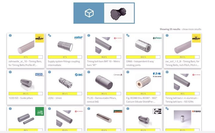 Search results from 3Dfind.it for a shape search [Source: Fabbaloo]