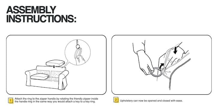 Assembly instructions for IKEA's 3D printable models [Source: IKEA]