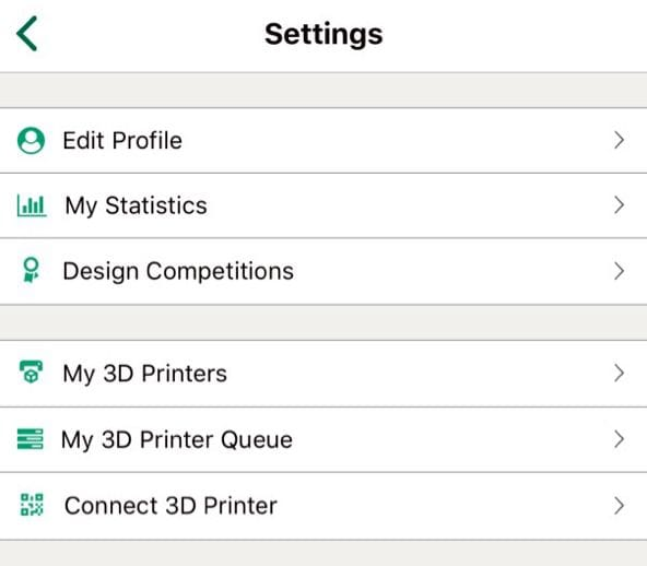 3D printer configuration information in the MyMiniFactory app is hidden in the Profile section [Source: Fabbaloo]