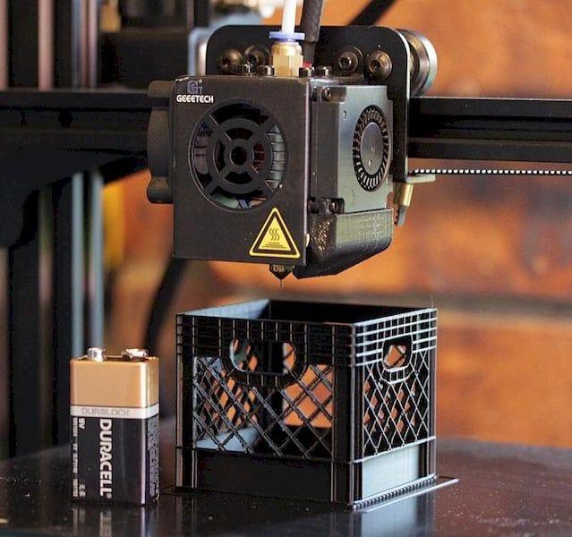 3D printing miniature 3D printed milk crates [Source: Reddit]