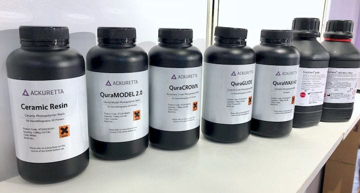 Some of the 3D printer resins offered by Ackuretta [Source: Fabbaloo]