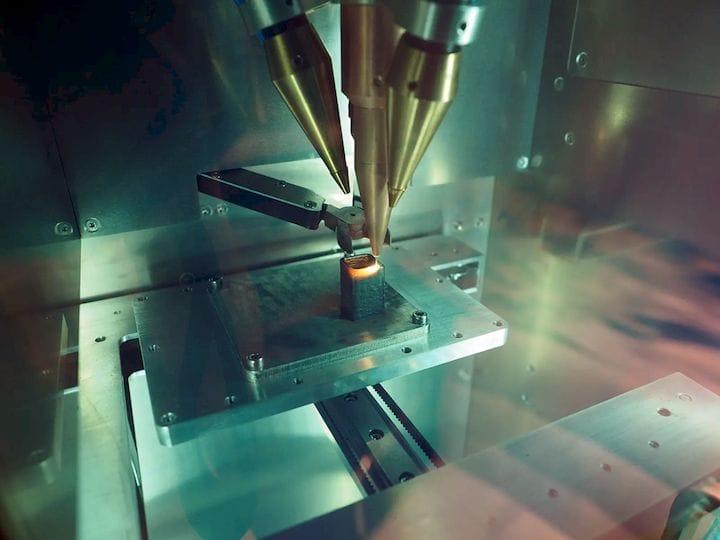 Three 200W lasers fuse wire metal feedstock. (Image courtesy of ADDiTEC.)