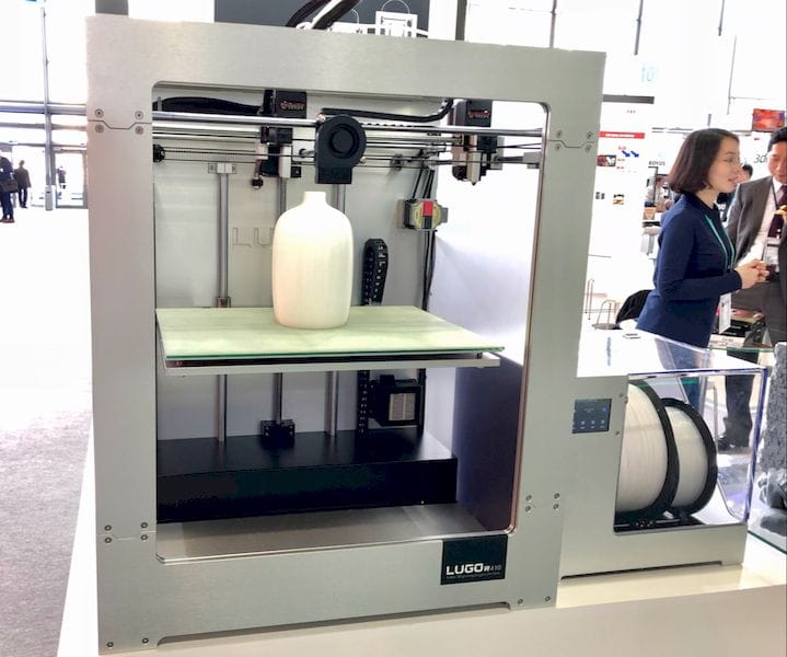 A Lugo Labs 3D printer working on a bottle [Source: Fabbaloo]