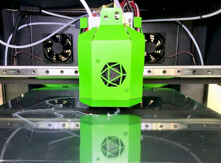 The UniHot extruder on the Hercules Strong 3D printer [Source: Fabbaloo]