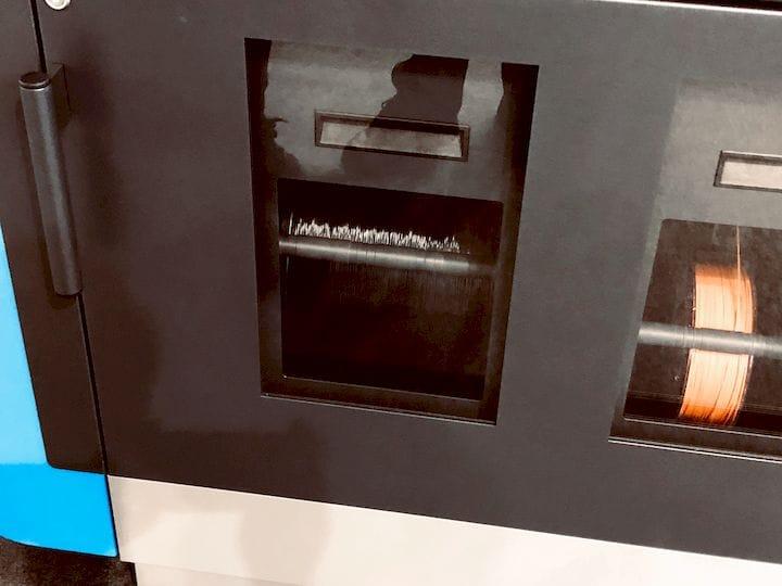 3D printing filament spools inside the EVO-TECH EL-102 [Source: Fabbaloo]