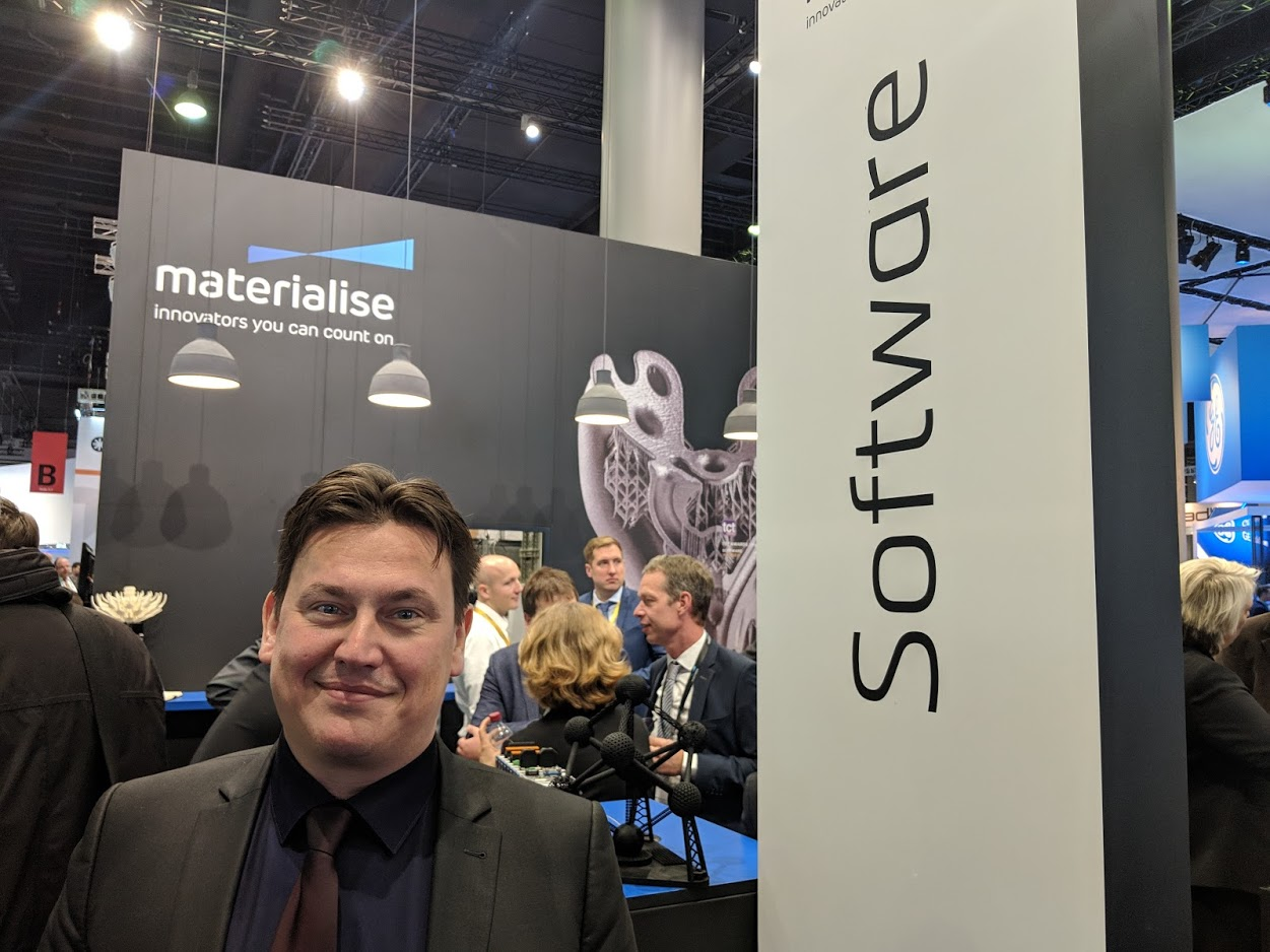 Stefaan Motte, Vice President and General Manager of Software, Materialise at formnext 2018 [Image: Fabbaloo]