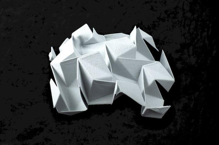 A flexible, white SLS 3D print [Source: Sinterit]