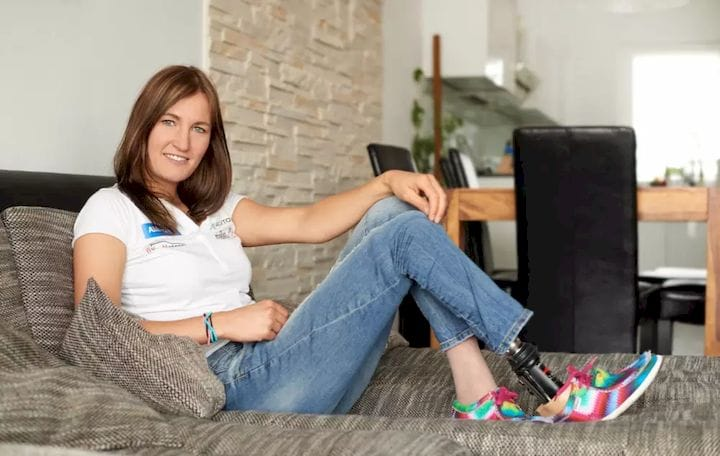 """I'm a woman. I need a lot of shoes,"""" Schindler said during the presentation. (Image courtesy of Allianz Deutcheland)"""