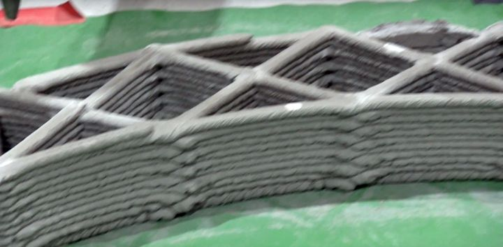 3D printed concrete wall [Source: Nanyang Technological University]