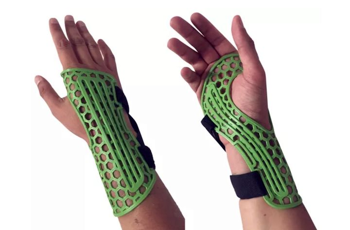 A 3D printed wrist brace made from antibacterial materials [Source: Copper3D]