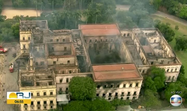 A fire at Rio de Janeiro's 200-year-old National Museum has destroyed virtually all their collection [Source: Globo.com via The Guardian]