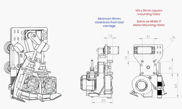 Schematic of Makertech 3D's solution to the dual extruder problem [Source: Makertech 3D]