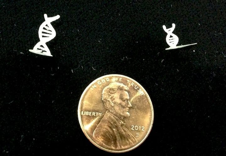 Very tiny 3D printed samples made by Old World Laboratories [Source: Fabbaloo]