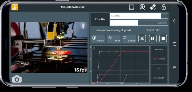 Printoid streaming live video of a 3D print