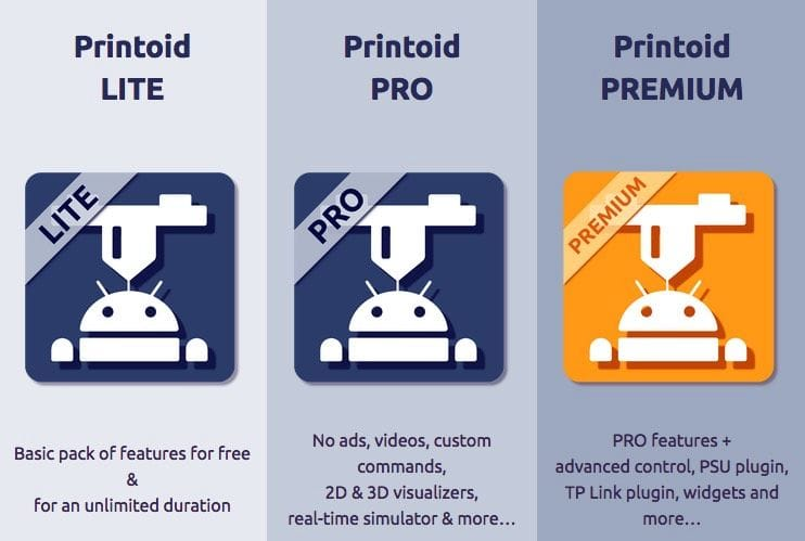 Three versions of Printoid are available