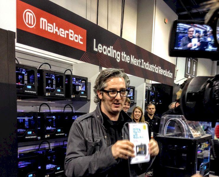 Then MakerBot CEO Bre Pettis showing off Replicators at CES
