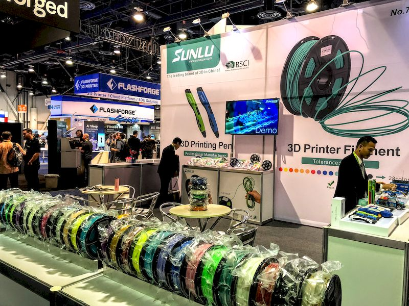 Some of the few 3D printing companies at CES 2018