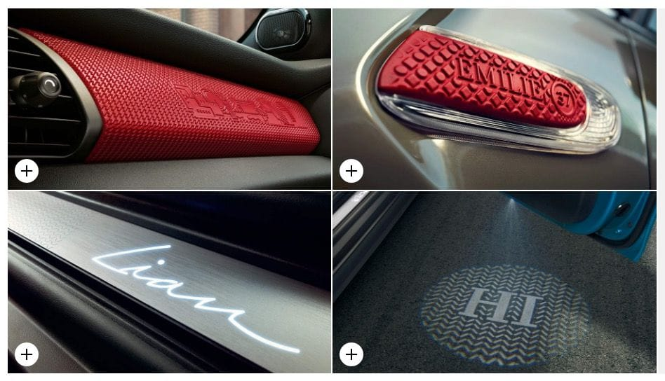Some of the customizable items in BMW's new Mini Yours Customization service