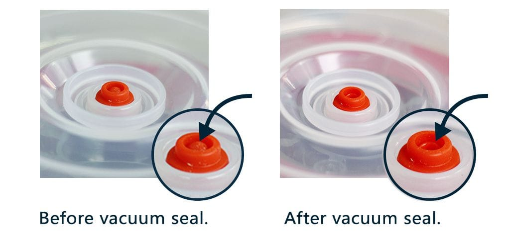 The PrintDry vacuum filament storage container showing the popup indicator of vacuum