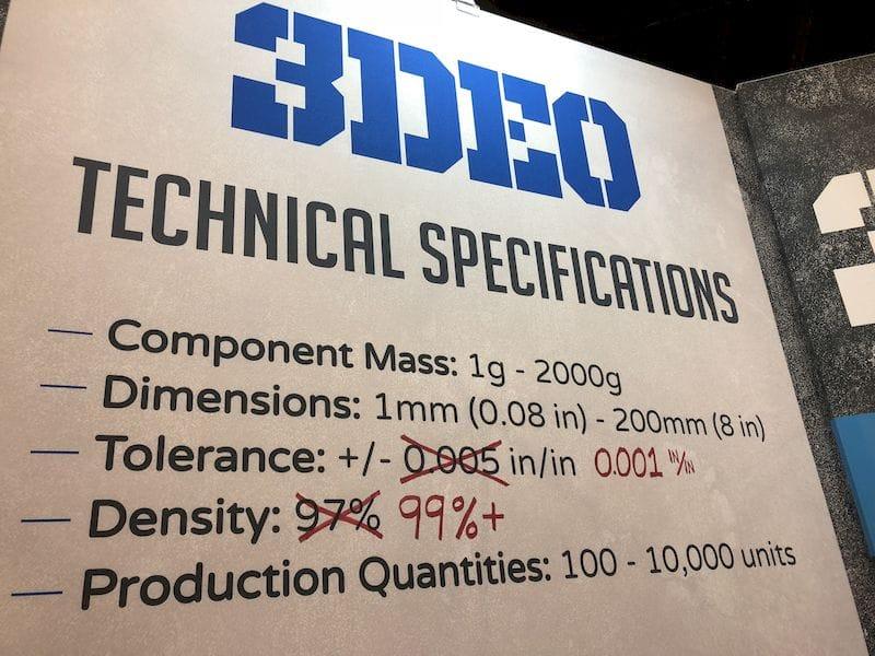 Specs of 3DEO's 3D metal printing process