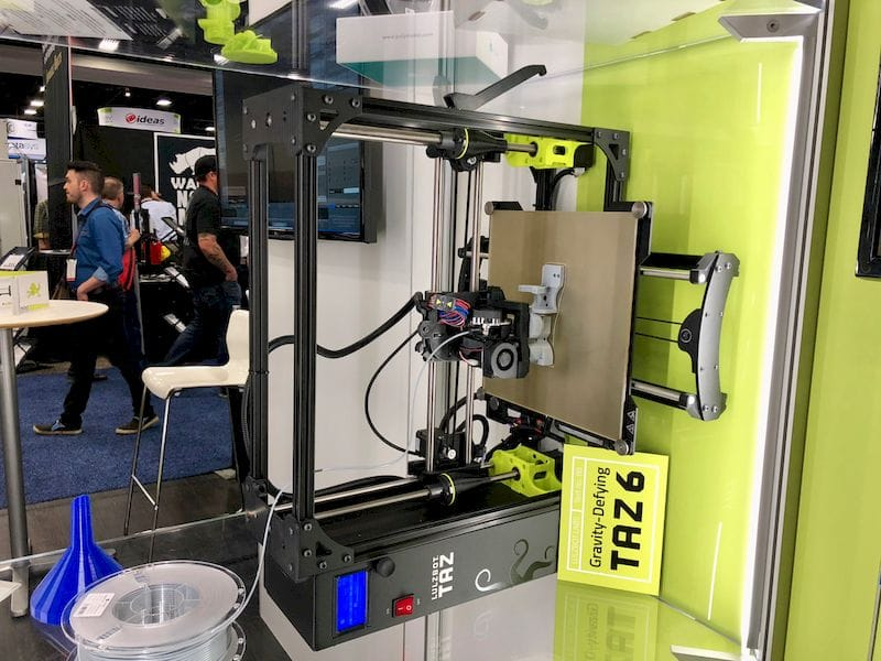A LulzBot TAZ 6 3D printing while sideways