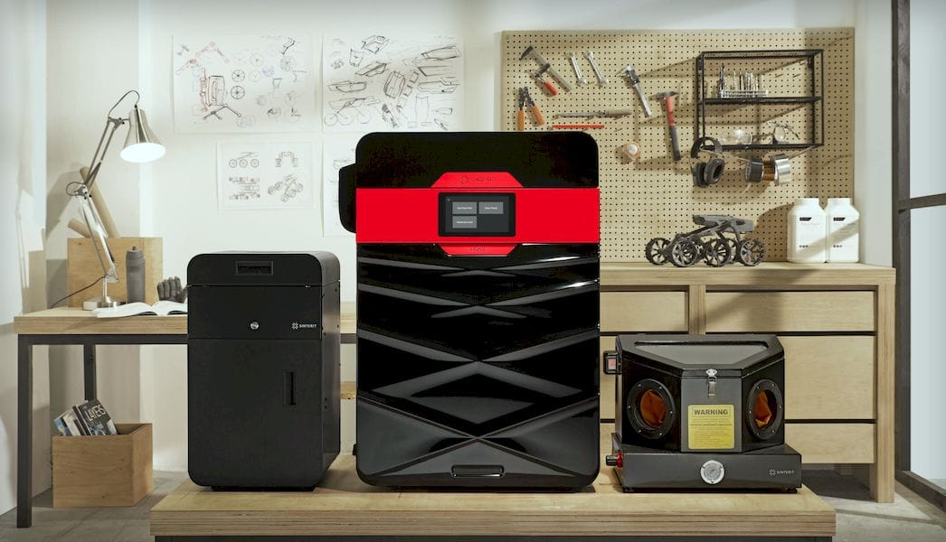 The Sinterit Lisa 2 desktop SLS 3D printer with sandblaster (right) and sieve (left)